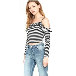 UO Pins & Needles Lettuce Edge Cold Shoulder Top
